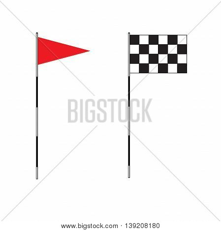 Golf equipment on isolated background. Red golf flag. Flags of the golf course. Illustration on white background. Checkered Golf flags. Different flags for golf