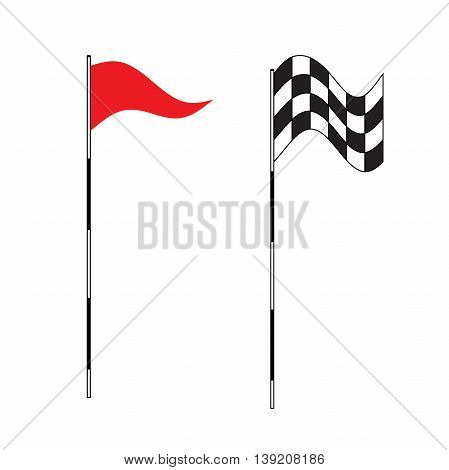 Golf equipment on isolated background. Red golf flag. Flags of the golf course. Illustration on white background. Checkered Golf flags. Different flags for golf. Waving Checkered flag