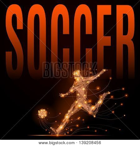 Soccer player hits the ball. Abstract silhouette of football player of glowing lines and points in motion. Imitation fiery athletes body. Vector sport illustration on black background