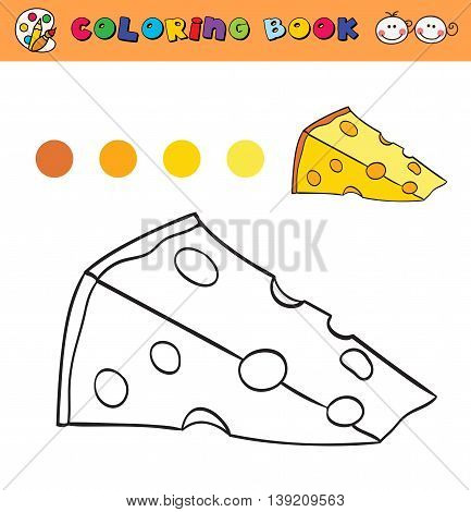 coloring book page template with cheese color samples. vector illustraton