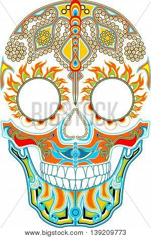 Day of the dead. Mexican festival. Ornamented skull