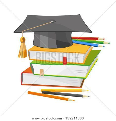 Back to school vector illustration of colorful books and black graduation hat isolated on white. Education, university, college symbol or knowledge, and colour pencils