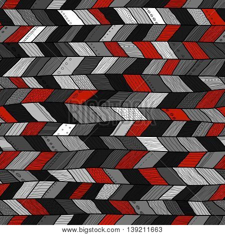 Seamless sennit pattern, vector black, gray, whiite and red texture