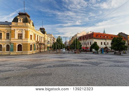 NITRA, SLOVAKIA - JULY 02, 2016: Museum of Nitra region in the central square of the town on July 02, 2016.