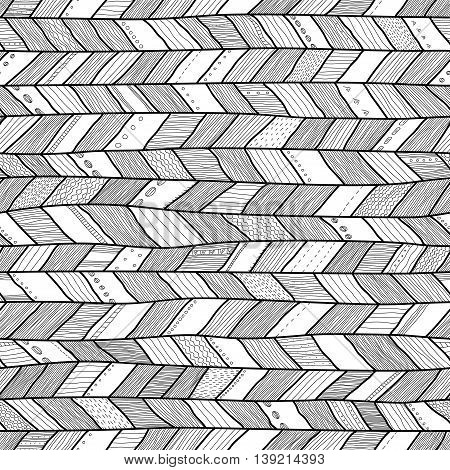 Seamless sennit pattern. Black and white vector contour texture for textile, antistress coloring book and wrapping paper.