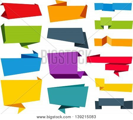 Vector file representing Origami Banner Label Ribbon design collection.
