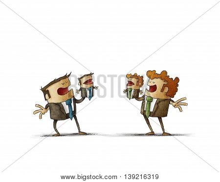Illustration of two business rivals playing puppet miniatures of themselves.White background.Isolate