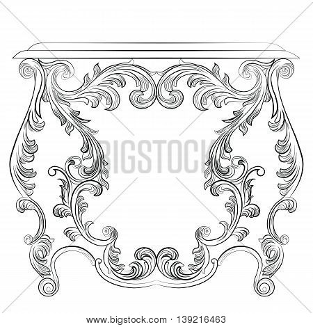 Glamorous Fabulous Baroque Rococo Console Table. French Luxury rich carved ornaments furniture. Vector Victorian wealthy Style furniture