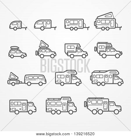 Set of camping car icons in flat silhouette line style. Travel SUV, pickup, truck and trailer icons. Transport vector stock illustration.