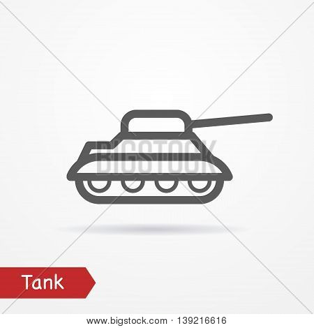 Abstract simplistic tank icon in silhouette line style with shadow. Army vector stock image.