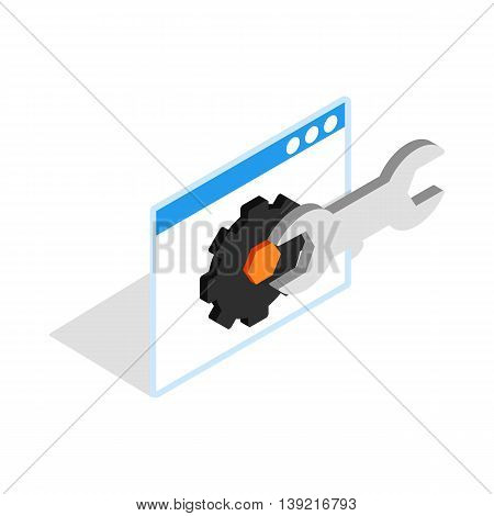 Computer repair icon in isometric 3d style on a white background