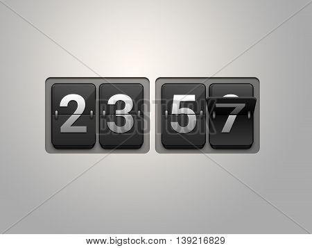 World Doomsday 23.57 black Time Flip clock. 3D Illustration