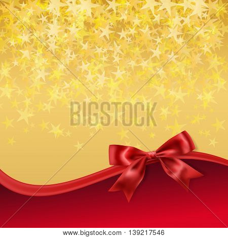 golden stary background with red bow decoration. vector