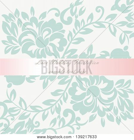 Vector Wedding Invitation card with lace lily flower ornament. Delicate lace design card with shinny bow. Green color