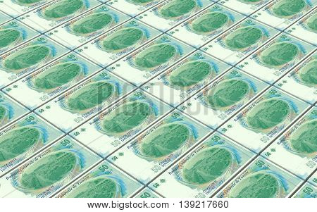 Tunisian dinars bills stacks background. 3D illustration.