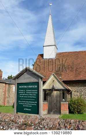 CHAPPEL ESSEX UK 31 Aug 2014: Traditional village church - St. Barnabas Chappel