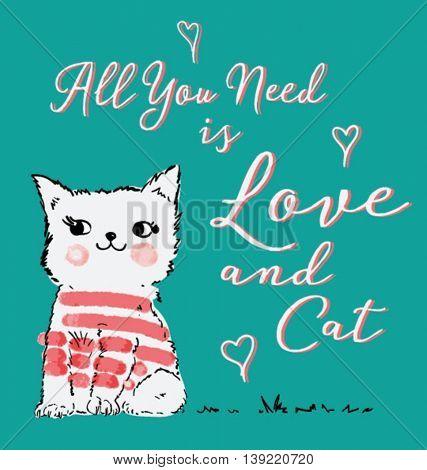 cartoon cat illustration for kids apparel