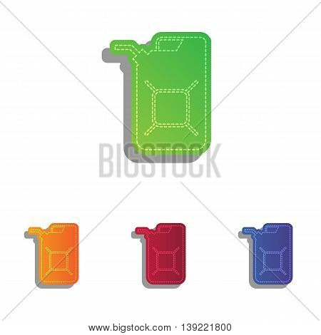 Jerrycan oil sign. Jerry can oil sign. Colorfull applique icons set.