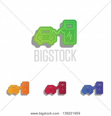 Electric car battery charging sign. Colorfull applique icons set.