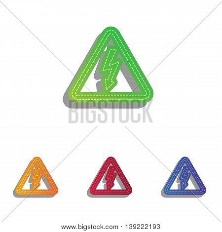 High voltage danger sign. Colorfull applique icons set.