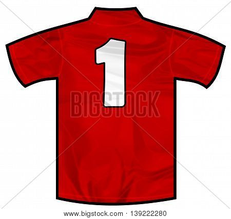 Number 1 one red sport shirt as a soccer, hockey, basketball, rugby, baseball, volley or football team t-shirt. Like Spain or England or Russia national team