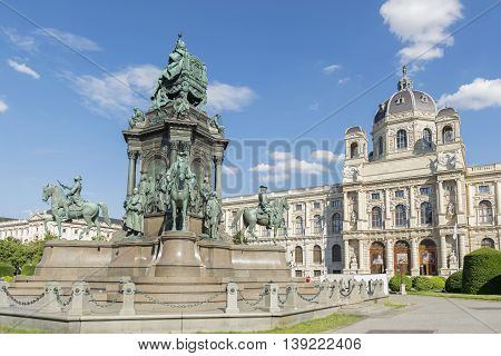 VIENNA, AUSTRIA, JULY 1,2016: Empress Maria Theresa Statue and exterior of Vienna Museum of Natural History and, a large natural history museum located in Vienna, houses nearly 30 million objects .