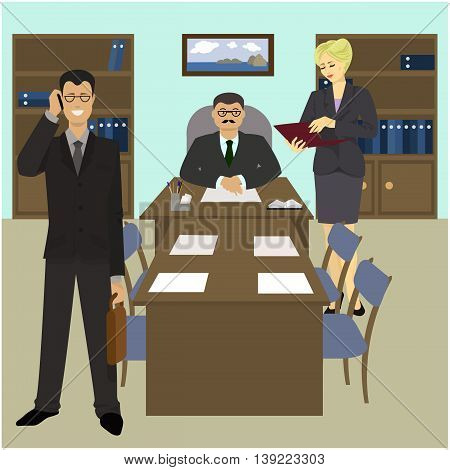 Director's Office a Secretary and a business partner. Vector illustration