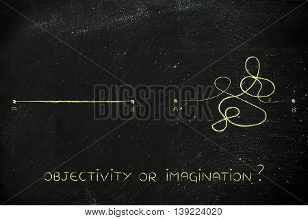Rationality Vs Creative Process, Point A To B Lines