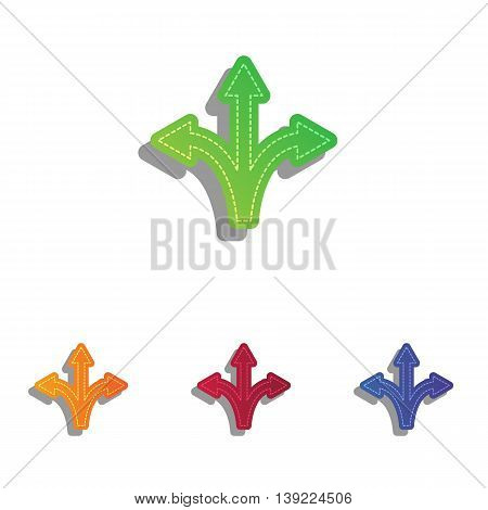 Three-way direction arrow sign. Colorfull applique icons set.