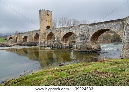 Medieval bridge of Frias in Burgos Spain