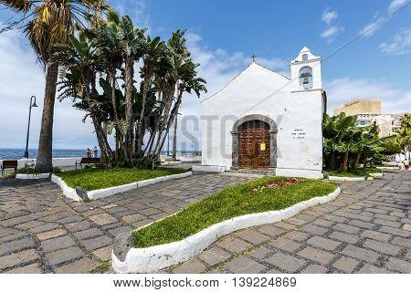Puerto de la Cruz Spain - August 16 2015: Typical canarian church ermita de San Telmo in Puerto de la Cruz Tenerife Canarias Spain