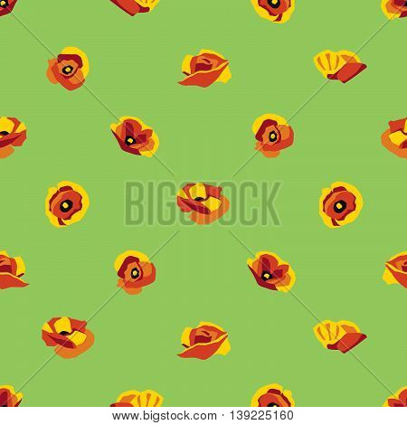 Floral seamless pattern with poppy type flowers