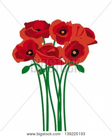 Bunch of red poppies for decoration or remembrance