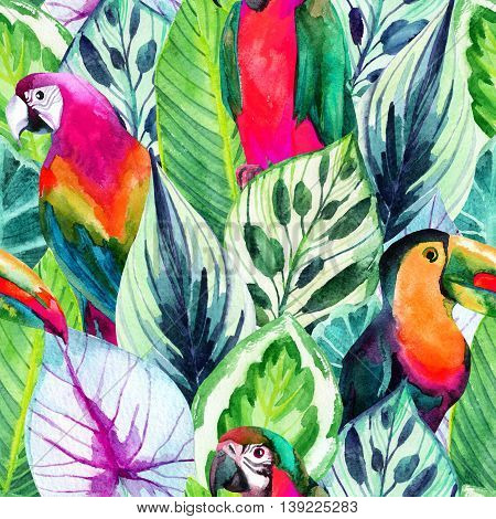 watercolor parrots seamless pattern on tropical leaves background. Hand painted illustration with different species of parrots and exotic leaves