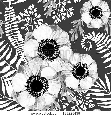 watercolor seamless pattern with anemone and herbs. Hand painted illustration in monochrome colors