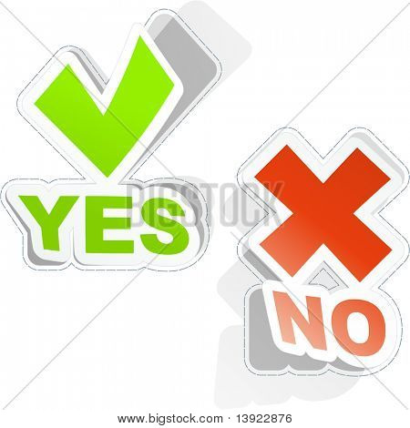 Yes and No icon. Vector sticker set.