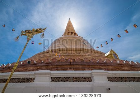 Nakhon Pathom Thailand - July 20 2016 The stupa of Pathomma or Pathommachedi in Thai language. One of a famous place for Buddhism and touristsm.