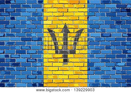 Flag of Barbados on a brick wall - Illustration,  Barbados flags on brick textured background,  Flag of Barbados painted on brick wall, Grunge flag of Barbados in brick style