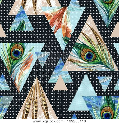 triangle seamless pattern with feathers grunge and watercolor textures. Abstract geometric background for unusual design. Triangular shapes with scribble and marble texture. Hand painted illustration