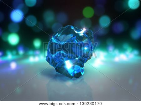 Blue Crystal With Light Bokeh Background