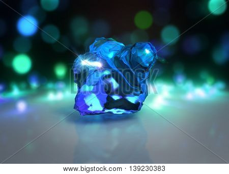 Crystal With Light Bokeh Background