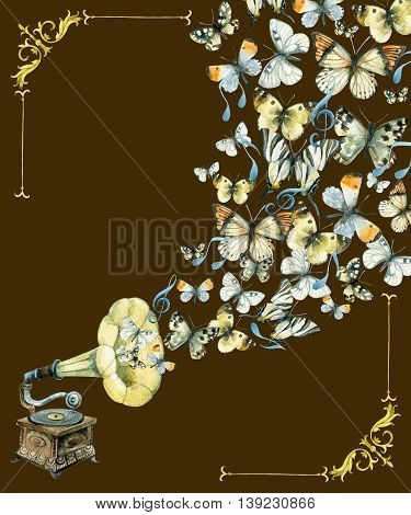 Vinyl gramophone notes and butterflies. Retro gramophone. Watercolor phonograph. Retro music poster. Hand painted illustration isolated on white background