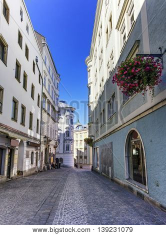 Street in old city by day, Linz, Austria