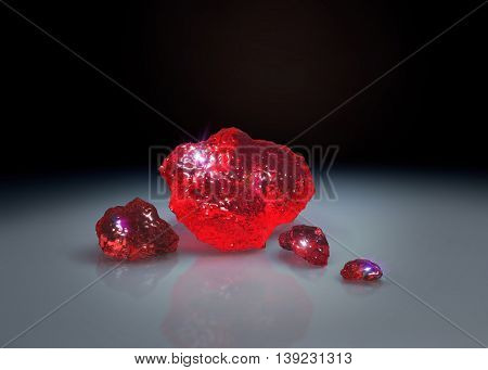 Red Crystals On Table