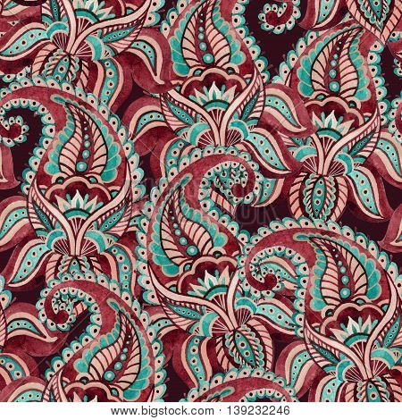 Watercolor indian ornament with hand painted paisley elements. Ethnic seamless pattern can be used as background fabric etc.