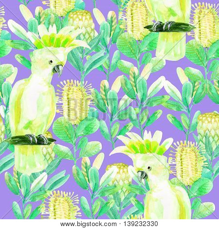 Seamless pattern with parrot and jungle flowers on violet background