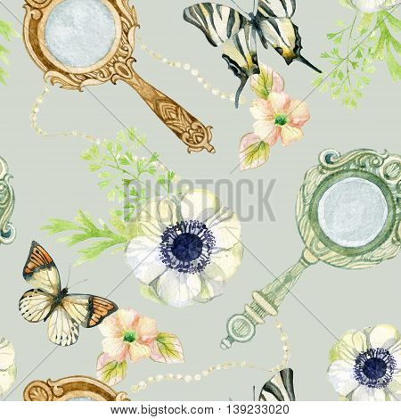 Mirrors butterfly and flowers seamless pattern. Vintage hand mirror with flowers and butterfly. Old fashioned design. Watercolor hand painted illustration