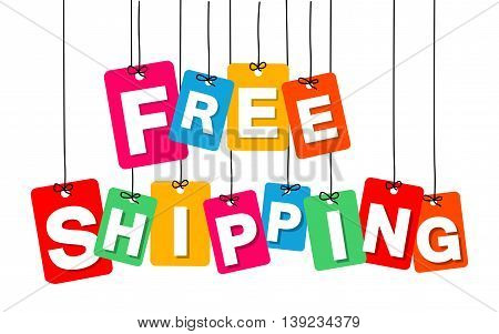 Vector colorful hanging cardboard. Tags - free shipping on white background