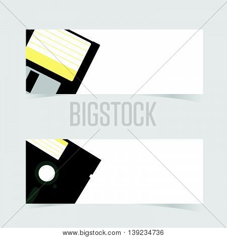 Banner With Floppy Disc Icon Illustration On Grey