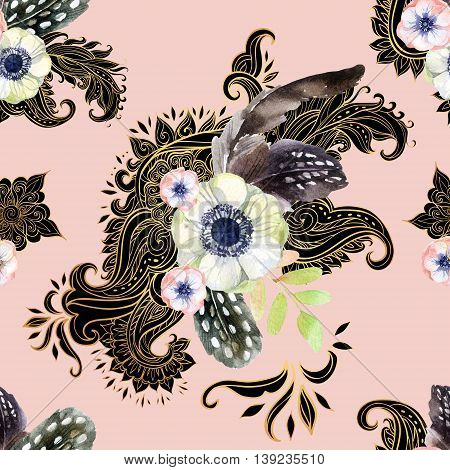 Watercolor flowers on paisley ornament. Hand painted flower arrangement in vintage style with feathers. Seamless pattern with traditional indian elements on pink background